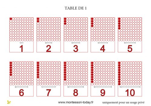 Les tables de multiplication imprimables montessori today - Les table de multiplication de 1 a 10 ...